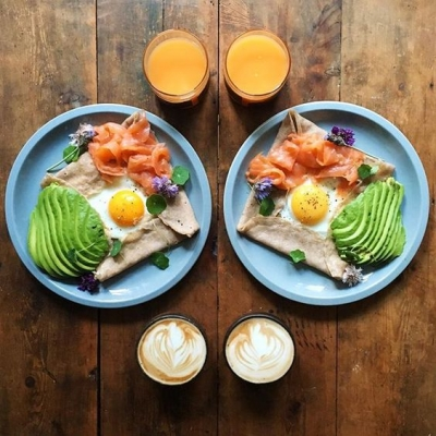 Kelly's Buckwheat Crepes w/ Silky Scrambled Eggs & Smoked Regal Salmon